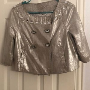 Silver leather beaded crop jacket